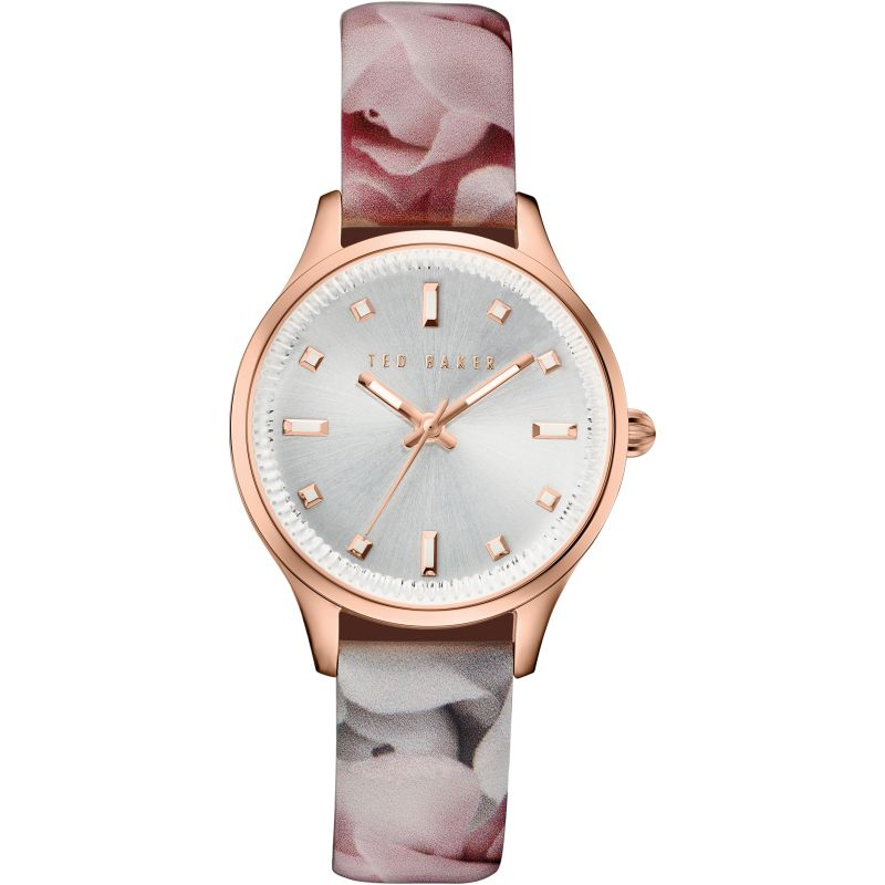 Ladies Ted Baker Rose Print Patent Leather Strap Watch TE10030741