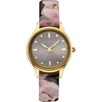 Damen Ted Baker Rose Print Patent Leder Armband Uhr