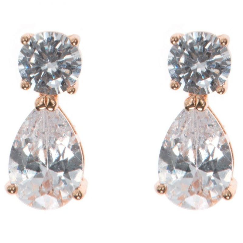 Ladies Anne Klein Rose Gold Plated Cubic Zirconia Double Earrings 60411707-9DH