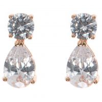 Ladies Anne Klein Rose Gold Plated Cubic Zirconia Double Earrings