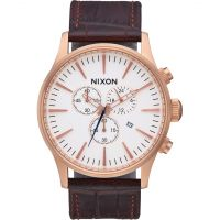 Mens Nixon The Sentry Chrono Leather Chronograph Watch