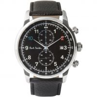 Herren Paul Smith Block Leder Armband Chronograf Uhr