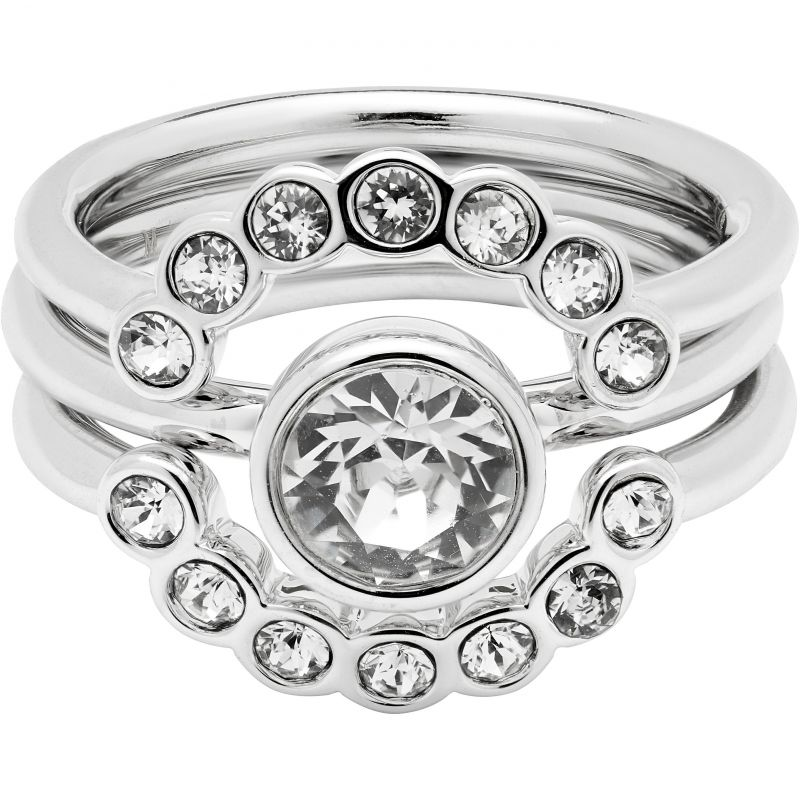 Ladies Ted Baker Silver Plated Cadyna Concentric Crystal Ring Size SM TBJ1317-01-02ML