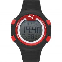 Mens Puma PU91128 FAAS 100 L - black red Alarm Chronograph Watch