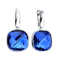 Ladies Sokolov Sterling Silver Express Yourself Blue Crystal Earrings 94022062