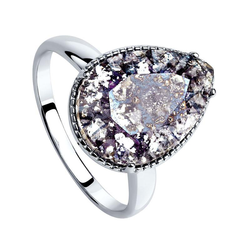 Ladies Sokolov Sterling Silver Size N Vintage Crystal Ring 94012037