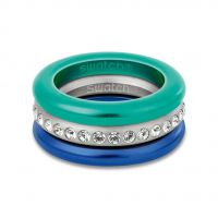 Ladies Swatch Bijoux Stainless Steel Merry Blue Ring Size N