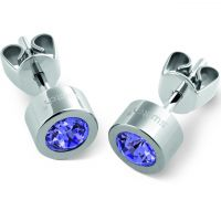 Swatch Bijoux Puntoluce Tanzanite Crystal Stud Earrings JEWEL