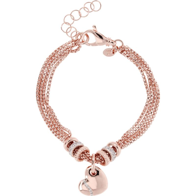 Ladies Bronzallure 18ct Rose Gold Plated Bronze Romanze Multistrand Bracelet with Heart Charm WSBZ00674.WR