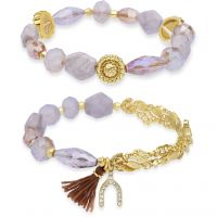 Ladies Lonna And Lilly Gold Plated Set of 2 Stretch Bracelets