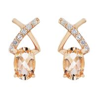 Damen Gemstone Sterlingsilber Morganite & Weiß Zircon Crossover Stud Ohrringe