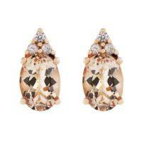 Ladies Gemstone Sterling Silver Morganite & White Zircon Stud Earrings OJE0174-MO