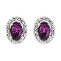 Damen Gemstone Sterlingsilber Lila Rhodolite & Weiß Zircon Cluster Stud Ohrringe