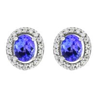Ladies Gemstone Sterling Silver Oval Tanzanite & White Zircon Cluster Stud Earrings OJS0005E-TZAA