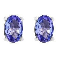 Ladies Gemstone Sterling Silver Oval Tanzanite Stud Earrings OJS0006E-TZAA