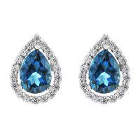 Ladies Gemstone Sterling Silver London Blue Topaz Cluster Stud Earrings G0119E-LBT