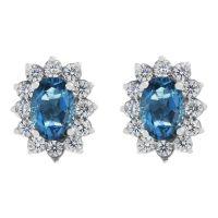 Damen Gemstone Sterlingsilber London Blau Topas Cluster Stud Ohrringe