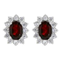 Gioielli da Donna Gemstone Jewellery Garnet Cluster Stud Earrings G0111E-GA
