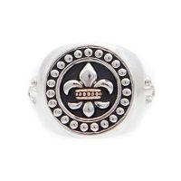 Herren Symbol Brand zwei-Tone Steel und Rose Plate Rebel Heritage Lys Sovereign Ring Größe mittelgroß
