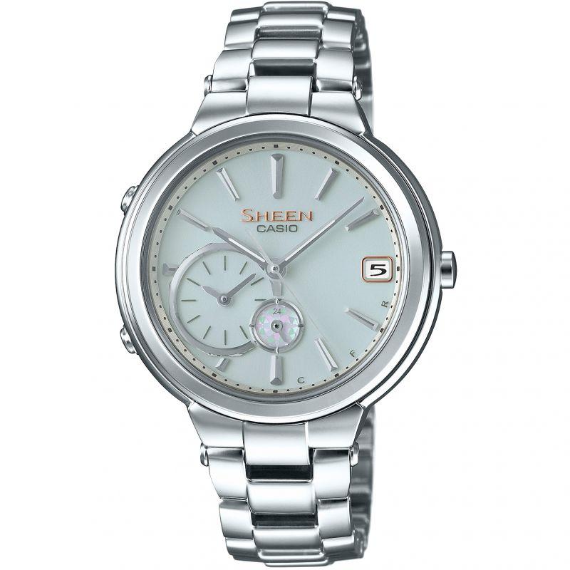 Damen Casio Sheen Time Ring Bluetooth Hybrid Smartwatch Alarm Watch SHB-200D-7AER
