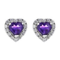Ladies Gemstone Sterling Silver African Amethyst and Cubic Zirconia Heart Stud Earrings G0047E-AA