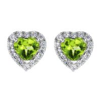 Ladies Gemstone Sterling Silver Peridot and Cubic Zirconia Heart Stud Earrings G0047E-PE