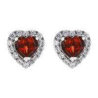 Damen Gemstone Sterlingsilber Granat und würfelförmig Zirconia Herz Stud Ohrringe