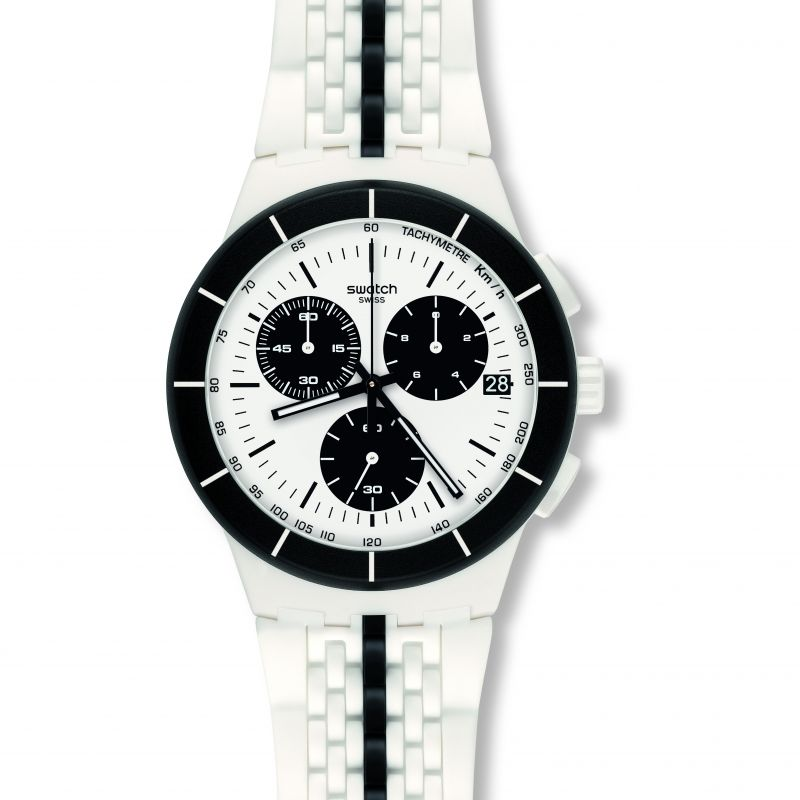 Mens Swatch Piste Noire Chronograph Watch SUSW407