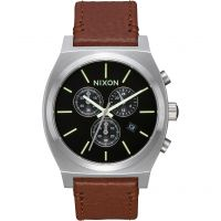 Nixon The Time Teller Chrono Leather Herenchronograaf Bruin A1164-1037