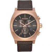 Herren Nixon The Zeit Teller Chrono Leder Chronograf Uhr