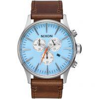 Herren Nixon The Sentry Chrono Leather Chronograph Watch A405-2547