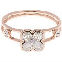 Damen Karen Millen Rose vergoldet Kunst Glas Blume Ring Größe SM