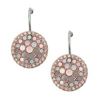 Ladies Fossil Two-Tone Steel and Rose Plate Mother of Pearl Disc Earrings