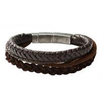 Herren Fossil Gunmetal PVD & Leder Armband