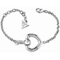 Ladies Guess Rhodium Plated Gisele Bold G Heart Bracelet