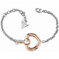 Ladies Guess Two-Tone Steel and Rose Plate Gisele Bold G Heart Bracelet