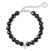 femme Thomas Sabo Jewellery Charm Club Obsidian Bracelet Watch X0226-840-11-L18,5V