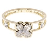 Ladies Karen Millen Gold Plated Art Glass Flower Ring Size SM