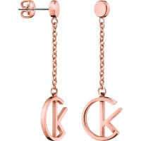 Ladies Calvin Klein Rose Gold Plated League Earrings