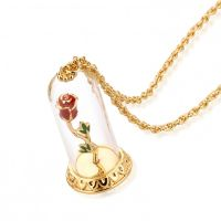 Ladies Disney Couture Gold Plated Beauty & the Beast Enchanted Rose in Glass DYN333
