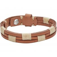 Mens Fossil Stainless Steel & Leather Bracelet JA6881040
