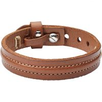 Mens Fossil Stainless Steel & Leather Bracelet