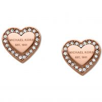 Ladies Michael Kors Rose Gold Plated Heart Stud Earrings