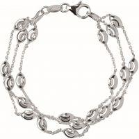 Damen Verbindungen Of London Sterlingsilber Essentials perlenbesetzt 3 Row Armband groß