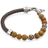 Mens Fred Bennett Silver Plated & Brown Bead Bracelet B4872