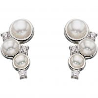 Ladies Elements Sterling Silver Cultured Pearl Stud Earrings