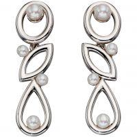 Ladies Elements Sterling Silver Cultured Pearl Drop Earrings E5358W