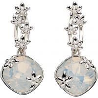 Ladies Elements Sterling Silver Floral Drops Earrings