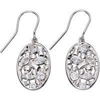 Ladies Elements Sterling Silver Floral Drop Earrings