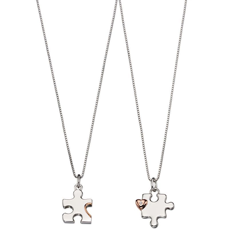 Childrens D For Diamond Sterling Silver Mother & Child Puzzle Necklace Set P4439